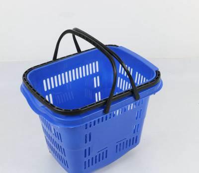 厂家批发超市购物篮购物车拉杆塑料篮手提篮便利店买菜篮带轮拉篮