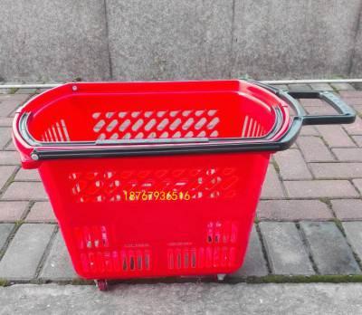厂家直销超市购物篮加厚手提买菜蓝塑料提篮四轮拉杆手柄篮子批发